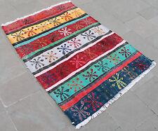 Turkish Kilim Rug 37'x50' Hand Woven Konya Cicim Kilim 96x129cm