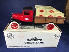 B2-33 ERTL 1:25 SCALE DIE CAST BANK - 1931 HAWKEYE CRATE TRUCK - DIAMOND WALNUT