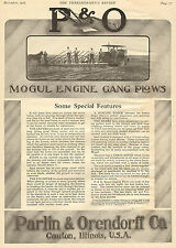 LARGE 1912 P & O PARLIN & ORENDORFF MOBILE ENGINE GANG PLOW AD CANTON ILLINOIS