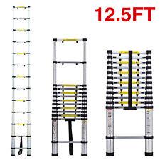 Folding 12.5FT Aluminum Telescopic Extension Ladder Step Anti-Pinch Lightweight
