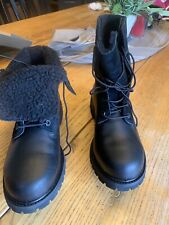 Womens Timberland Leather/fleece Fold Over Black Waterproof Boot. Size 8.5