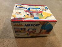 Vintage 1988 Blue Box My Happy Town Airport Hangar in Box Little People & Plane