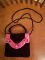 Vintage Girl's Crossbody Tophandle Purse Pink Black Rosette Velver Velour Play