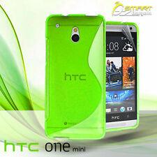 Green S Curve Gel Case For HTC ONE Mini M4 + Screen Guard TPU Jelly Soft Cover