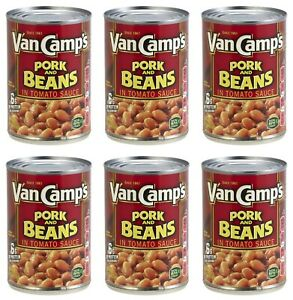 6 Van Camp's Pork and Beans in Tomato Sauce Cans 15 oz Van Camps Pork & Beans