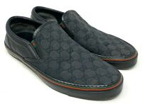 Auth GUCCI GG Logo Sherry Line Slip-on Sneakers Flats #9.5 US 10 Black Rank B