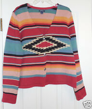 Ralph Lauren American Living Southwestern Indian Blanket Cardigan Sweater, XL