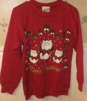 Vintage Cat Sweatshirt Ugly Christmas Sweater Made In USA Womens M Tultex Kitten