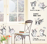 Cute Cat Vinyl Home Room Decor Art Wall Decal Sticker Bedroom Removable Mural