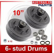 "10"" 6-Stud Electric Trailer brake Drum kits with L/M bearings"