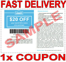 1× Lowes $20 OFF $100 FAST DELIVERY-1COUPON INSTORE DISCOUNT ONLY 𝐄𝐗𝐏 𝟕/𝟏𝟎