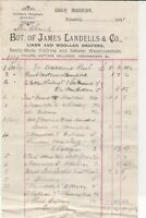 James Landells & Co. Alnwick 1891 Woolen Drapers Detailed Stamp Receipt Rf 38211