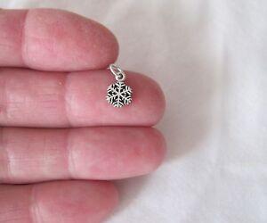 Small Sterling Silver Snowflake mini tiny charm.