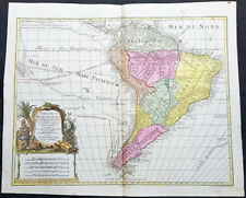 1772 Tobias Lotter Large Antique Map of South America, Magellan, Drake, Le Maire