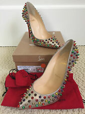 NIB Auth Christian Louboutin Pigalle Follies 100 Multicolor SPIKES Pumps 37 7