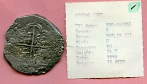 ATOCHA 8 REALES COIN WITH 1985 ASSAYERS TAG..SHIPWRECK COIN!!!!!!..1299.00