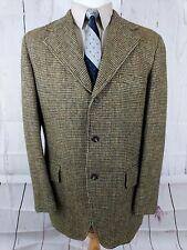 Mens Harris Tweed Jacket Sport Coat 42L Slim Fit Blazer 3 Button Vent Wool Brown