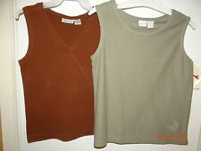 LOT of 2! Blouses Sleeveless Tops Ladies Size S Solid Colors FREE SHIPPING