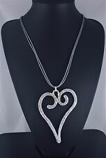 Grey Cords Soft Silver Beaten Large Heart Pendant Long Lagenlook Necklace 31.5""