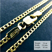 """Necklace Pendant Chain Real 18k Yellow G/F Gold Solid Curb Link Design 17.7"""""""