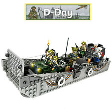 WW2 Military Landing Craft Boat + Army Jeep Truck + Soldiers Normandy fit lego