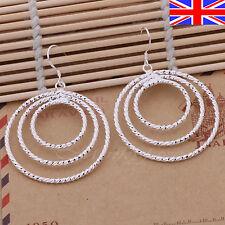 Ladies 925 Silver Earrings Hoop Drop Large Textured Circle Dangle Free Gift Bag