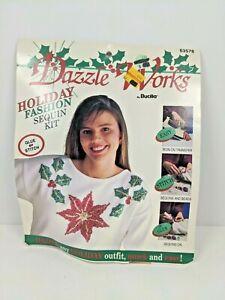 1992 Vintage BUCILLA DAZZLE WORKS KIT Tacky Christmas Sweater Poinsettia Holly