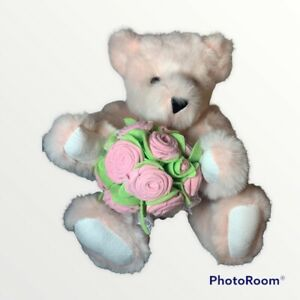 """Pink Vermont Teddy Bear 15"""" With Bouquet New With Tags Excellent Condition"""
