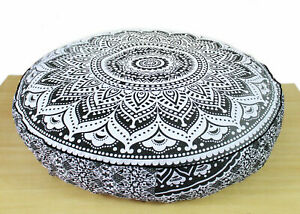 """Indian Black Grey ombre mandala Cotton Round Cushion Cover 35"""" Floor Pillow Pouf"""