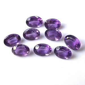 100 Pcs Natural Purple Amethyst 10x12mm oval Faceted Cut Loose Gemstone