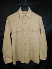 Vintage Woolrich M L Brown Stripe Wool Shirt Jacket Chest Pockets Button US Made