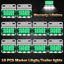10 X 12V 24V Green LED Side Marker Clearance Lights Indicators Trailer Truck AU