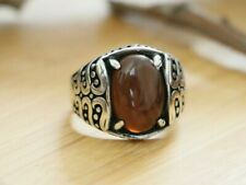 Yemenian Natural Brown Agate Stone, 925 Sterling Silver Men's Ring SIZE 7.75