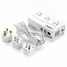 Voltage Converter 220V to 110V Converter with 6A 4 USB Ports and UK/AU/US Black