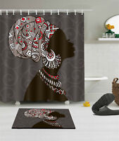 African women Shower Curtain Bathroom Waterproof Fabric 12 Hooks Bath Mat 4559