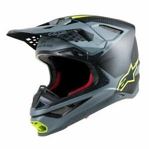 New Alpinestars SM10 Supertech M10 Carbon MX Helmet Black / Gray / Flo Yellow
