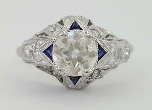 Vintage 1.2 ct Platinum Old European Cut Diamond & Sapphire Engagement Ring GIA