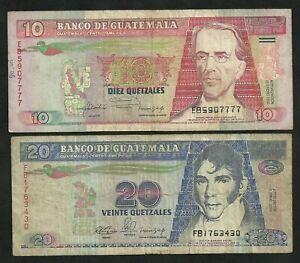 Guatemala : 10 + 20 Quetzales 1990 / 1992
