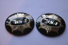 "65-8228  BSA  PAIR  ROUND 4""  TANK  BADGES  BLACK  GOLD (1949-58)"
