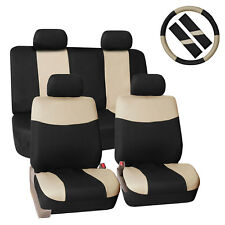 Modern Flat Cloth 2 Row Auto SUV Car Seat Covers Beige Black Combo Set