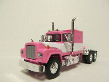 1ST GEAR 1/64 SCALE R MODEL MACK, SLEEPER CAB, WHITE & PINK,    DCP SCALE