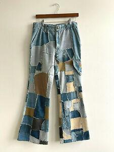Vintage Patchwork Handstitched Denim Corduroy Jeans Bellbottoms Hippy Rockabilly