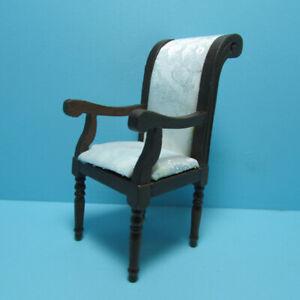 Dollhouse Miniature Dining Room Arm Chair with Satin Fabric Walnut CLA10945