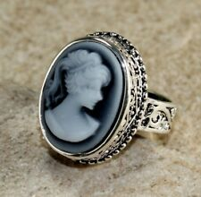 SILVER Vintage Style Black Cameo Beauty Girl Cameo Ring Size 9, WR13001