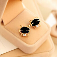 ORECCHINI DORATI GATTO NERO STRASS 1,0 CM - EARRINGS GOLDEN BLACK CAT STRASS