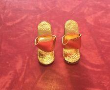 New listing Vintage 1960s Mattel Barbie Orig Tan Wedgies w Gold Uppers~1964 In The Swim Nice
