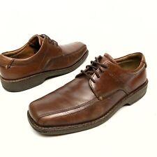 Ecco Men's Dress Shoes Brown Oxford Square Bicycle Toe Leather Sz 9-9.5 Eu43