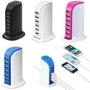 Desktop 6 Port USB Charger Charging Dock Wall Charger for iPhone iPad Cell Phone