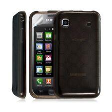 Housse coque etui gel rond transparent pour Samsung Galaxy S i9000 couleur noir