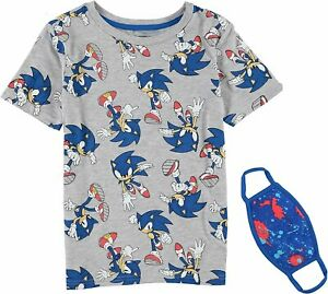 Sonic The Hedgehog Boys Short Sleeve T-Shirt Bundle with Face Mask